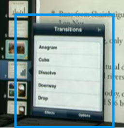 Keynote for iPad, showing an animations list attached to a slide.