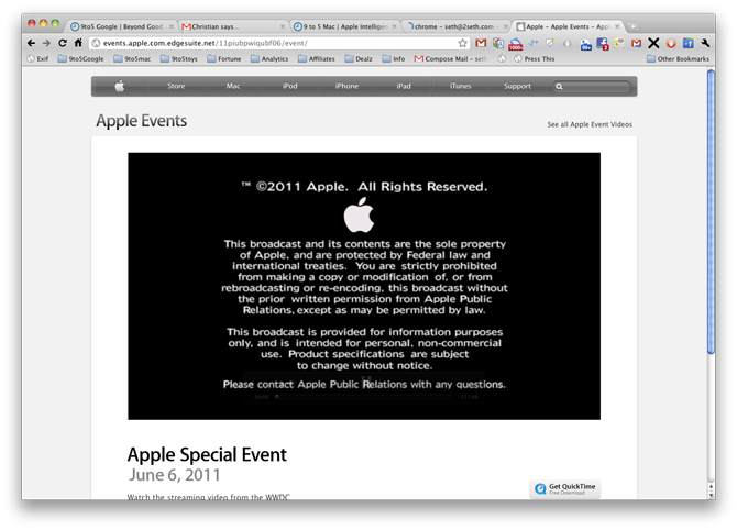 WWDC 2011 videos not viewable in Google Chrome