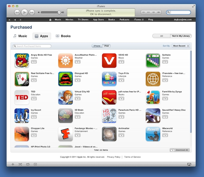 iCloud lets you re-download all your purchased apps, music and books