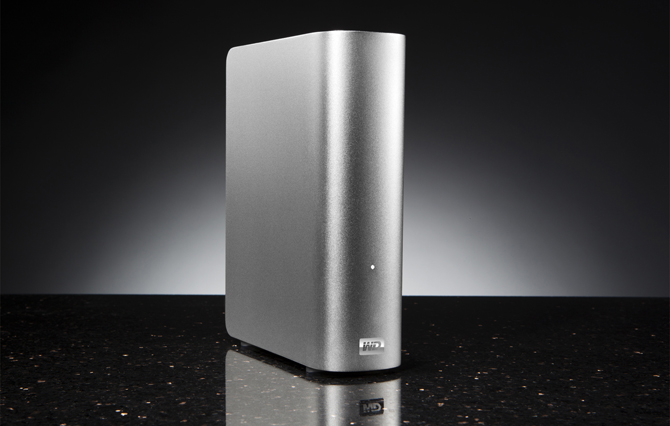 Western Digital My Book Studio 3TB (front, left angled, marble table)
