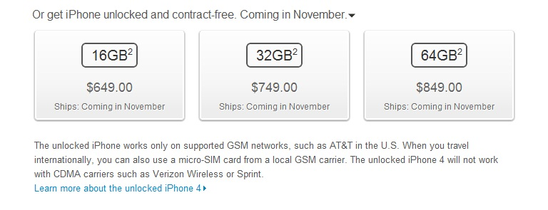 Unlocked iPhone 4S available in November, only works on GSM