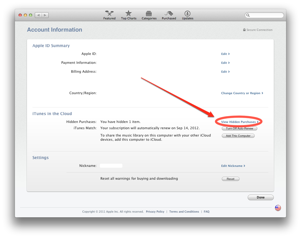 Tips: How to selectively hide/unhide past iTunes purchases