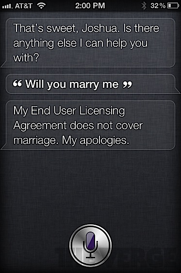 Siri answers (will you marry me)
