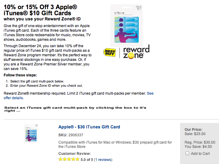 Last minute stocking stuffers: $50 iTunes gift card for $40