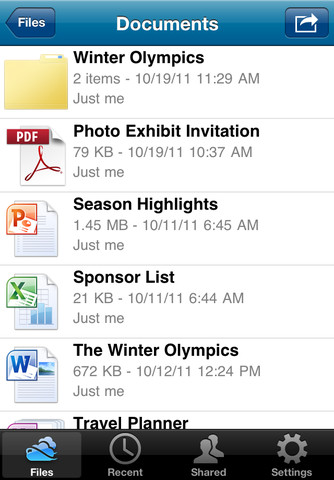 SkyDrive for iOS (iPhone screenshot 002)