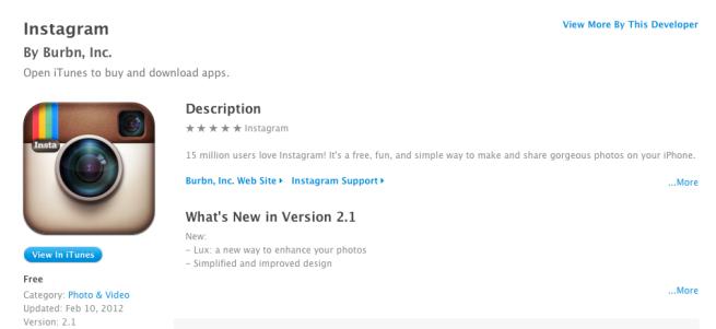Instagram v2 1: Apple's 2011 'App of the Year' has new UI