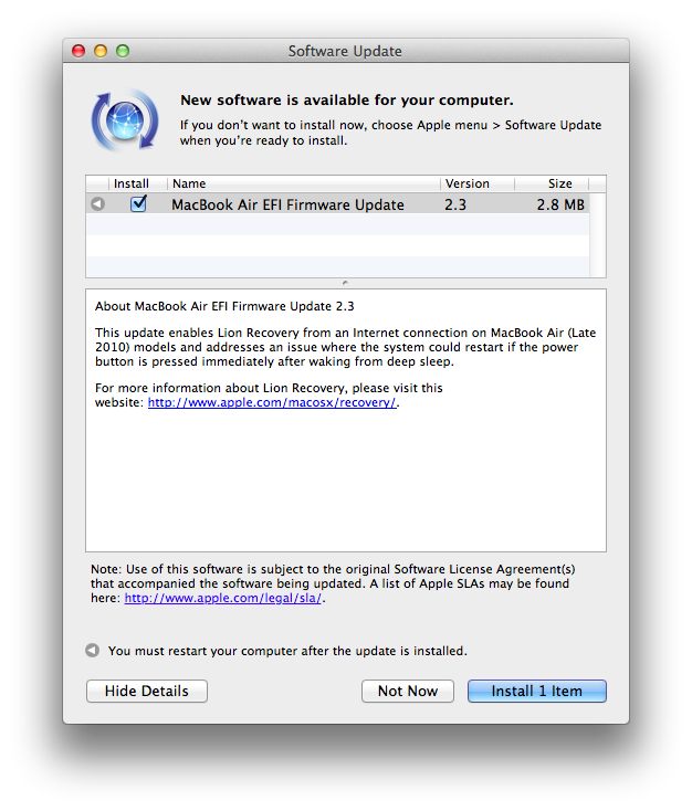 Apple updates EFI Firmware on 2010 MacBook Pros, Airs and