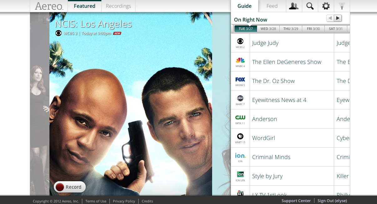 Hands-on with Aereo: $12 monthly broadcast TV with DVR live