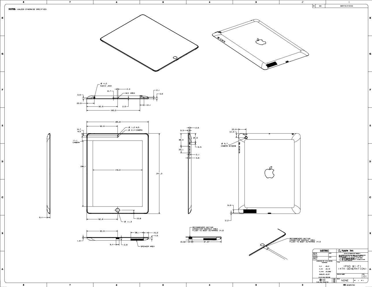 Full ipad mini and fourth generation ipad schematics blueprints now guides ios devices malvernweather Choice Image