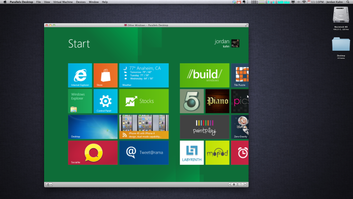 Windows 8 Parallels
