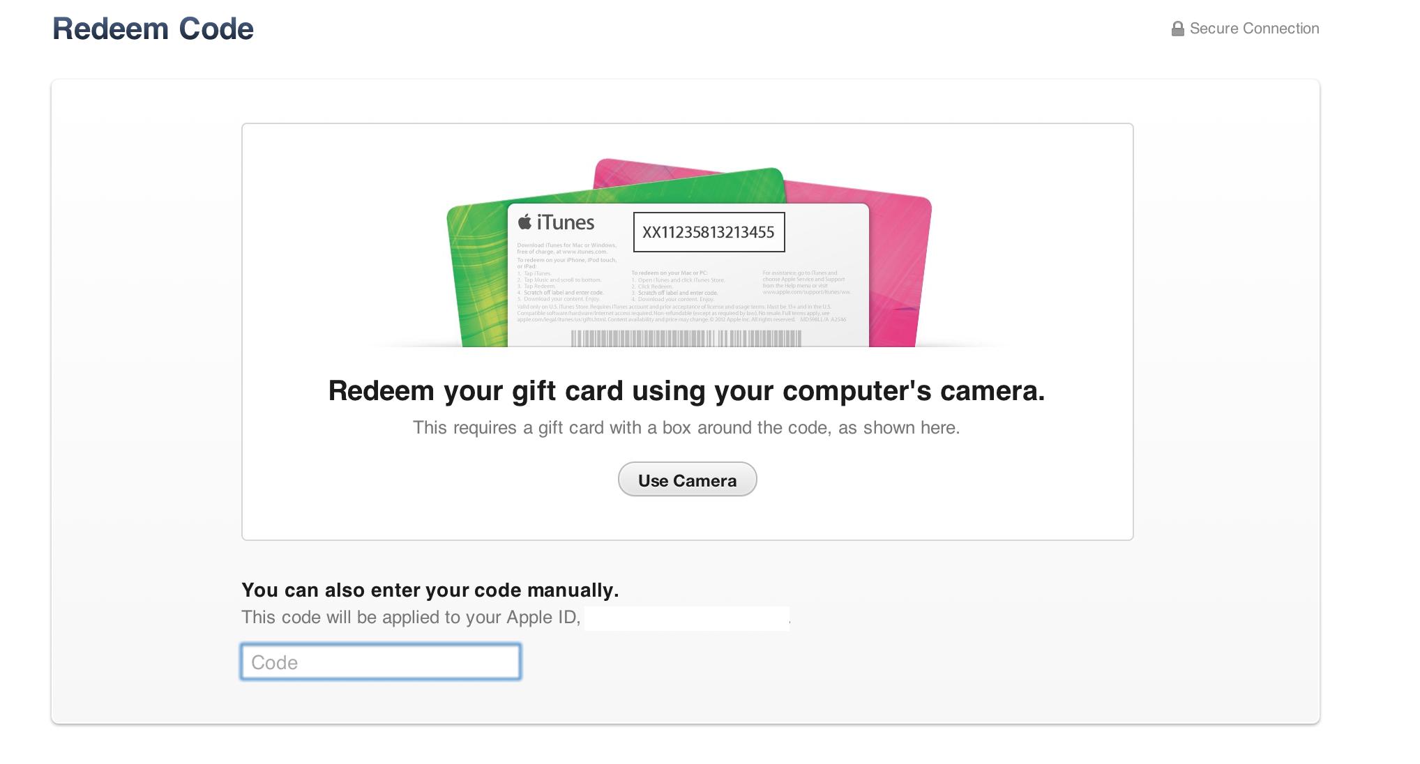 iTunes 11 gift card camera redeem