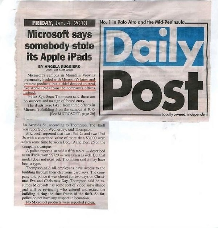 ipads stolen from Microsoft