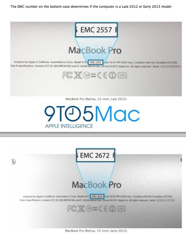 New Model (Early 2013) Retina MacBook Pros use some upgraded