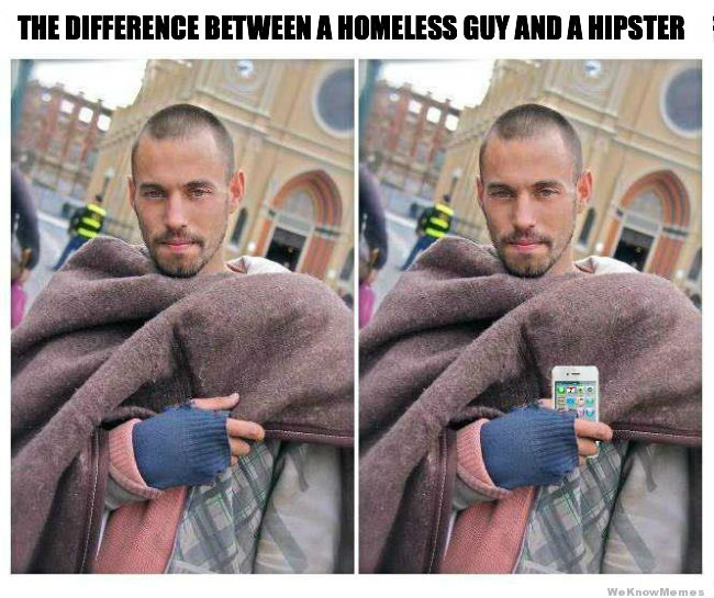 difference-between-homeless-guy-and-hipster