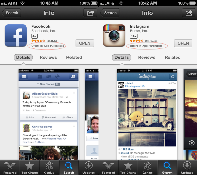 In-App Purchases bug affects Facebook, Instagram