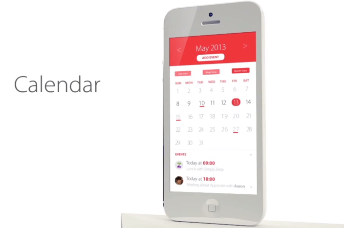 iOS 7 Calendar Concept by SimplyZesty