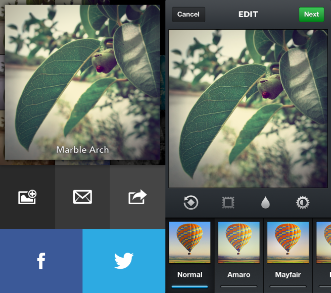 Capture and process an image in Analog Camera, then jump right over to Instagram or similar apps to share.