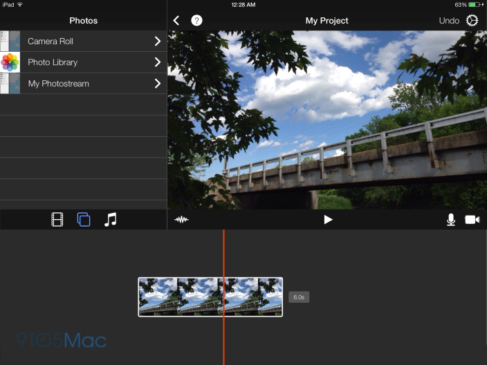 How iMovie could look with a flatter interface. (Click any image for a larger version.)
