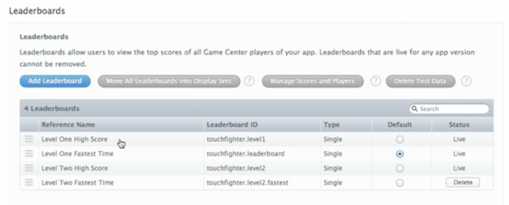 iTunes-Connect-Leaderboards-management