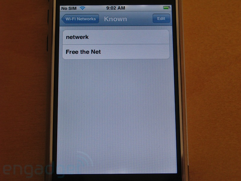 "The removed ""Known Networks"" Settings panel. (Photo credit: Engadget)"