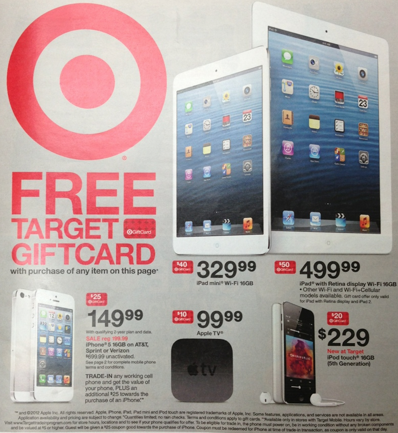 target promoting free gift cards with iphone ipad ipod apple tv