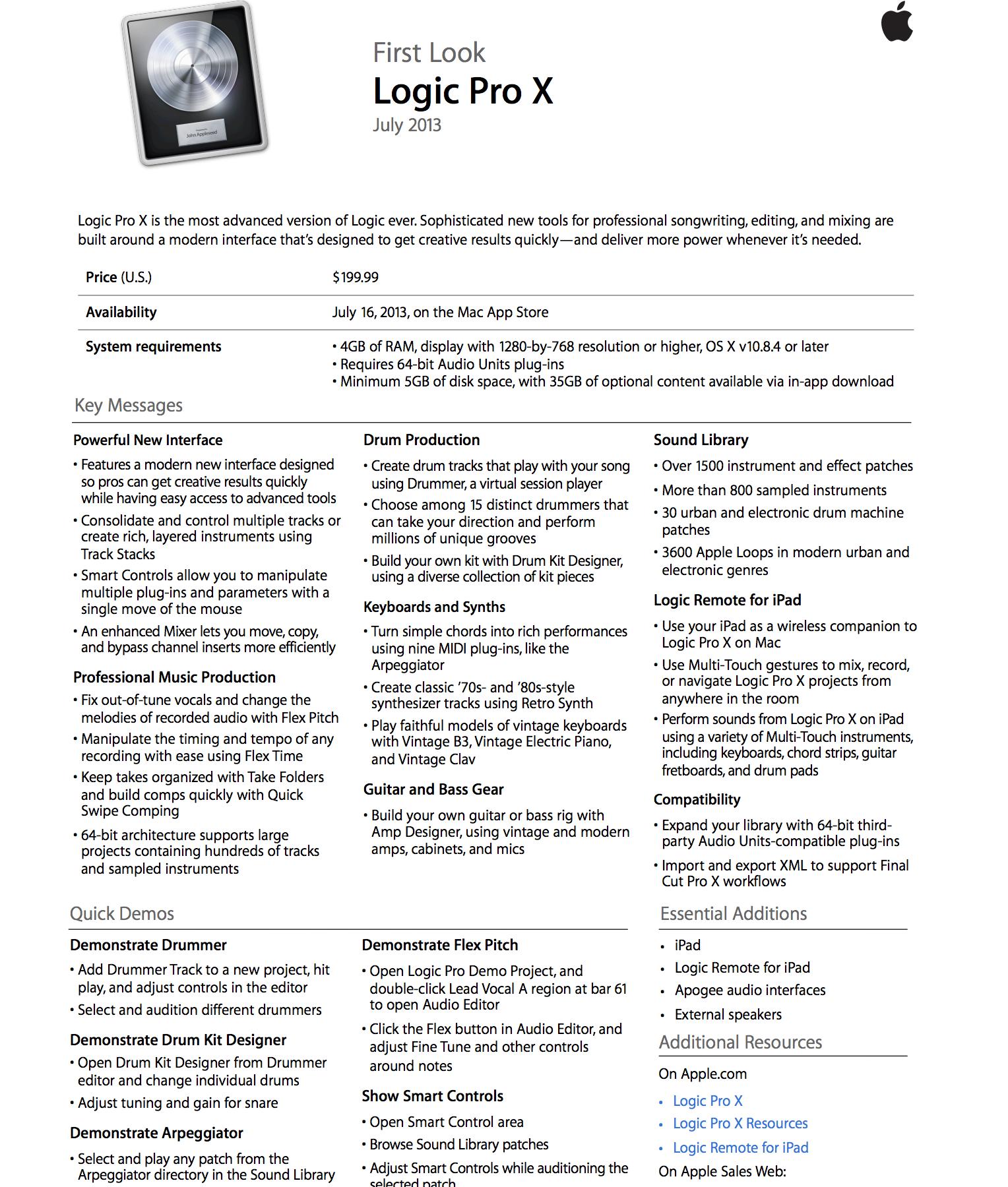 Apple releases Logic Pro X & MainStage 3 in Mac App Store, Logic