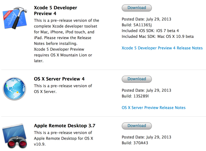 Apple puts out new Mac Xcode, Remote Desktop, OS X Server