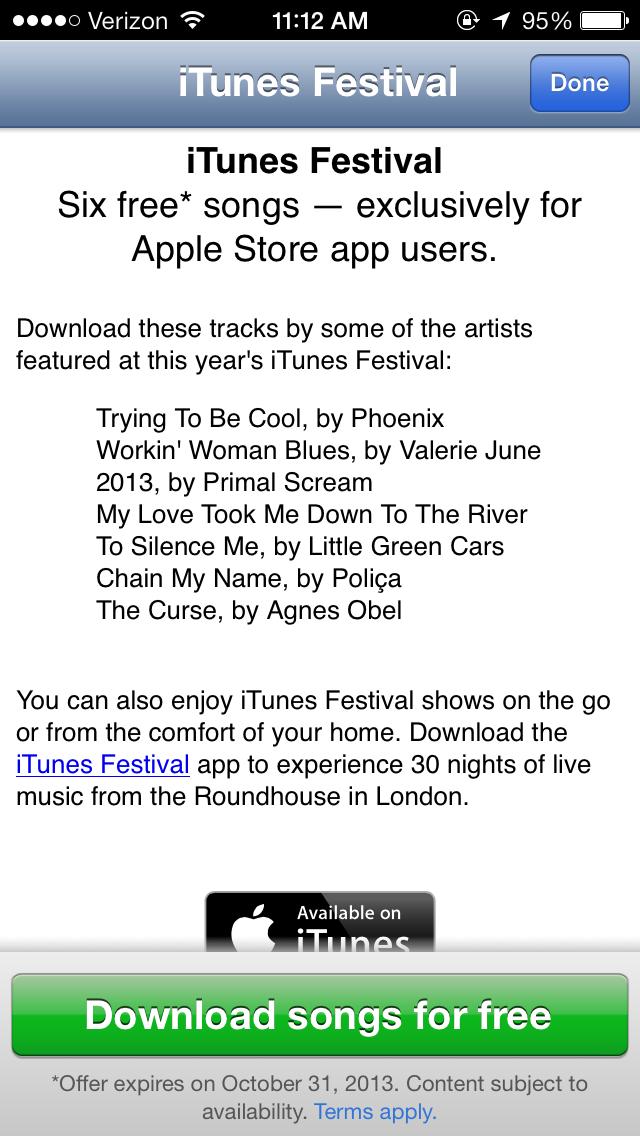 Apple offering free iTunes Festival songs in Apple Store app