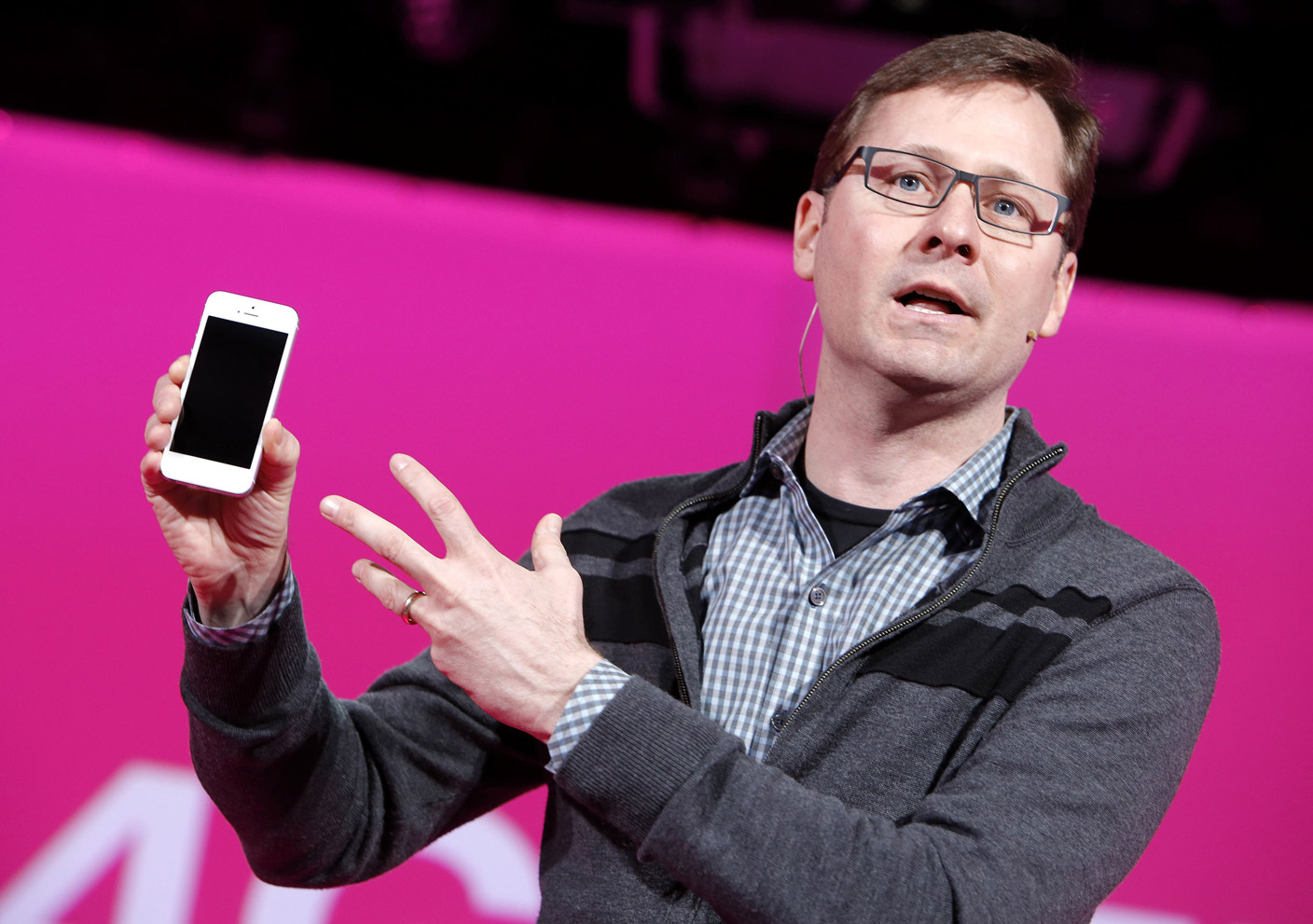 T-Mobile CMO Mike Sievert speaks at a press conference in New York