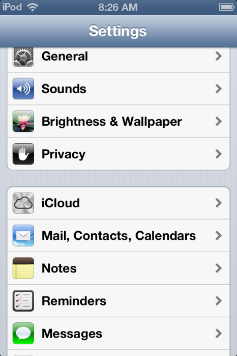 iOS 6 Settings with iCloud being the fifth item down.