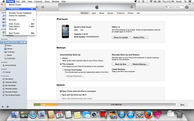 backup iphone mac itunes 11