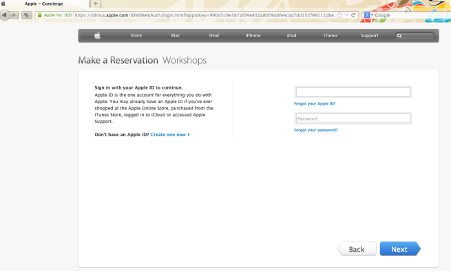 Picture of Confirming a Reservation at the Apple Store, requiring your Apple ID