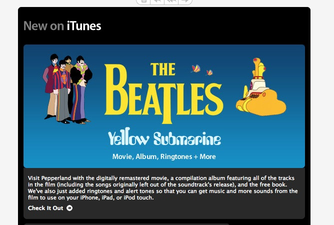Apple marketing material after The Beatles came to iTunes.