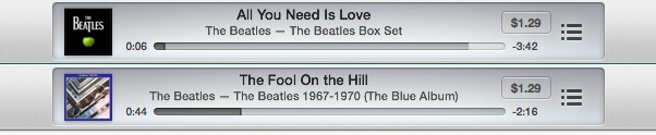 The Beatles Playing In iTunes Radio.
