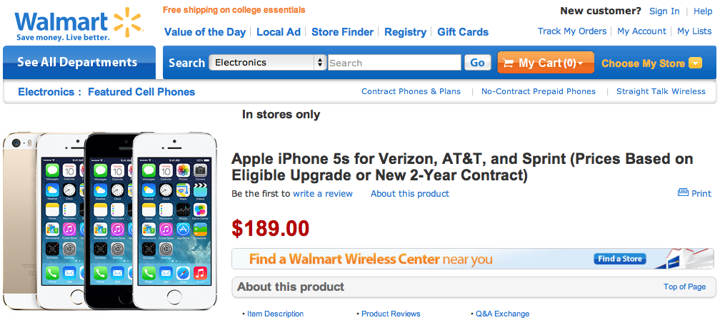 Walmart iPhone pre-orders start tomorrow, 5c at $79, 5s at