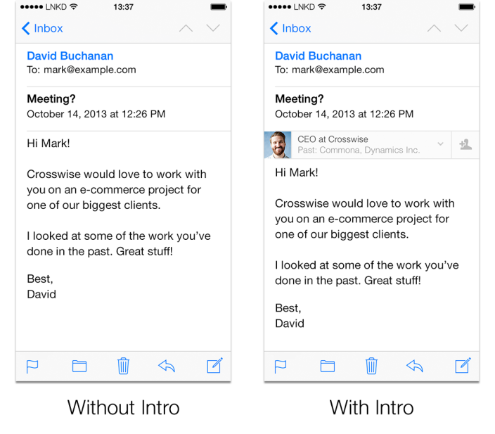 LinkedIn debuts Intro with iOS Mail integration