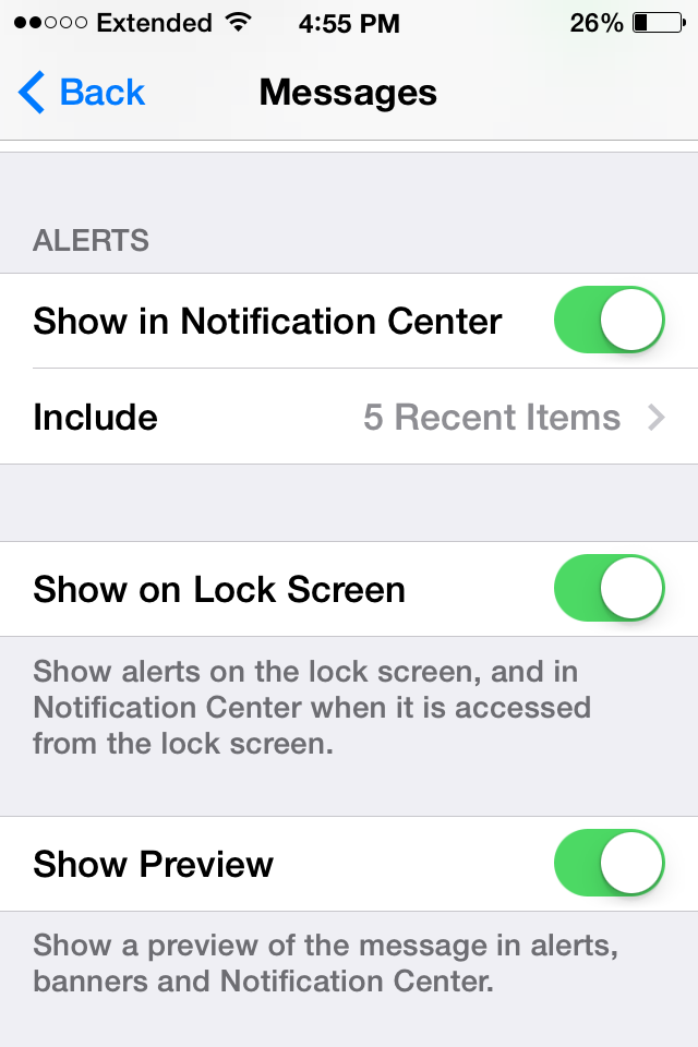 Iphone on message how change notification to Private Text