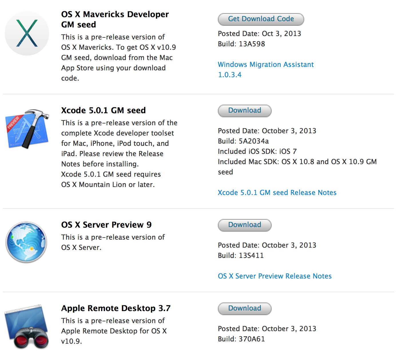 OS X Mavericks goes Golden Master, now out for developers