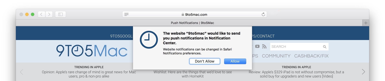 9to5Mac Safari Push Notifications