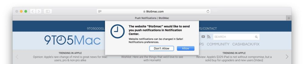 9to5Mac Safari Push Notifications