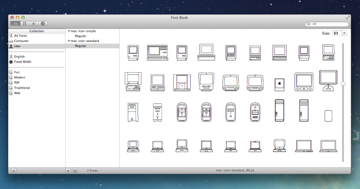 Mac Icon Font