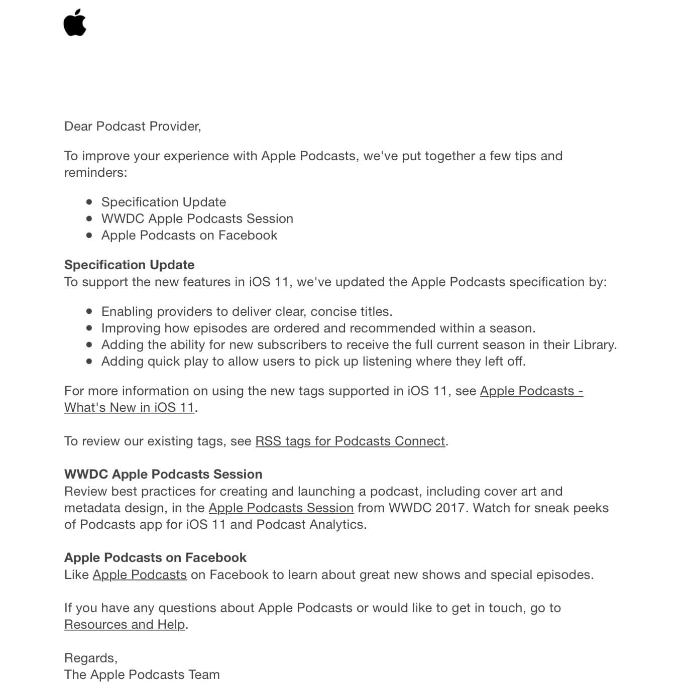 New Apple email for podcast providers
