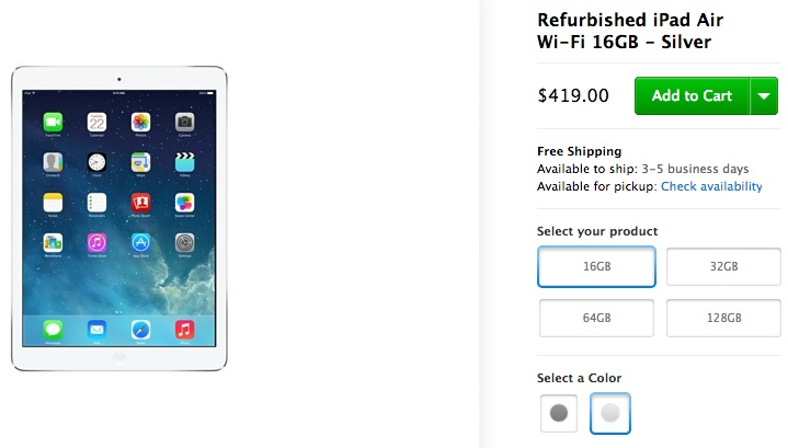 You can now buy iPad Airs at the Apple Store (refurb) for $419/16GB or $509/32GB with 1 year warranty