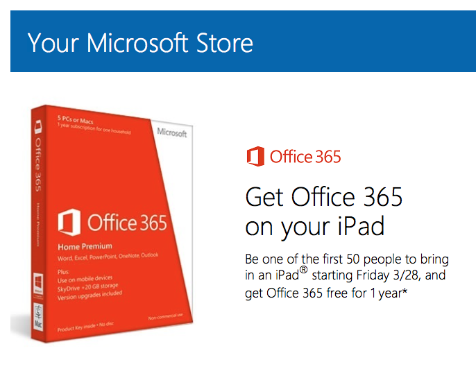 Microsoft to hand out free Office 365 subscriptions to iPad owners in retail stores tomorrow