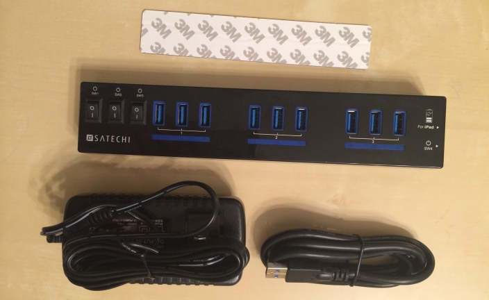 satechi 10 port powered usb hub with ipad support