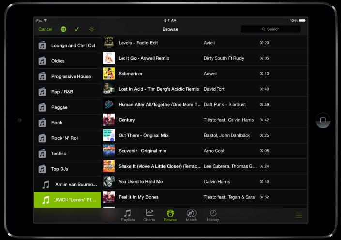 djay + Spotify Library