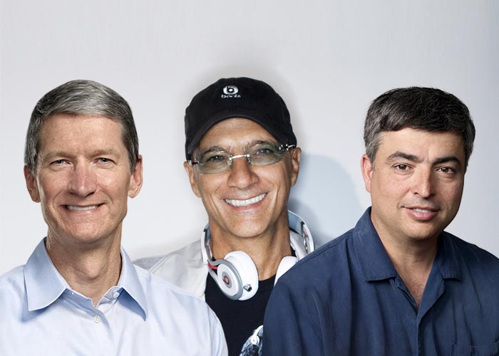 Mockup of Tim Cook, Beats CEO Jimmy Iovine, and Eddy Cue