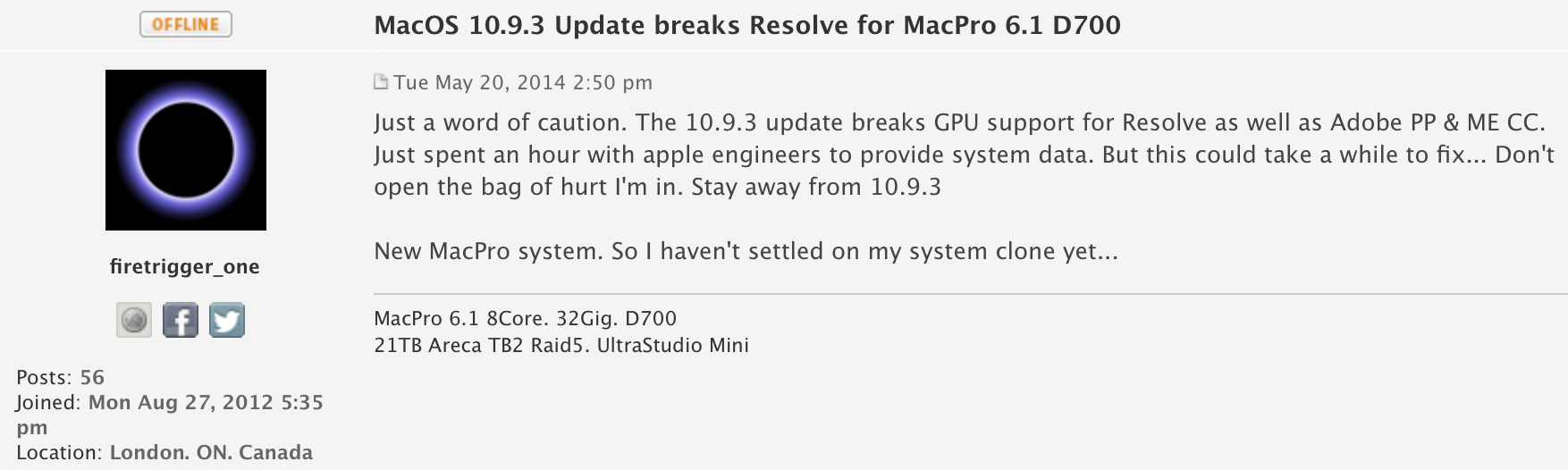 OS X 10 9 3 breaking Mac Pro graphics card compatibility with