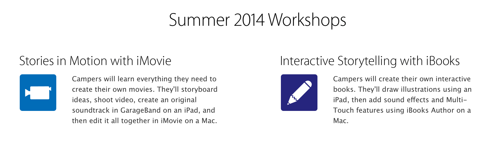 Apple Store Camp is back for summer 2014 with iBooks Author