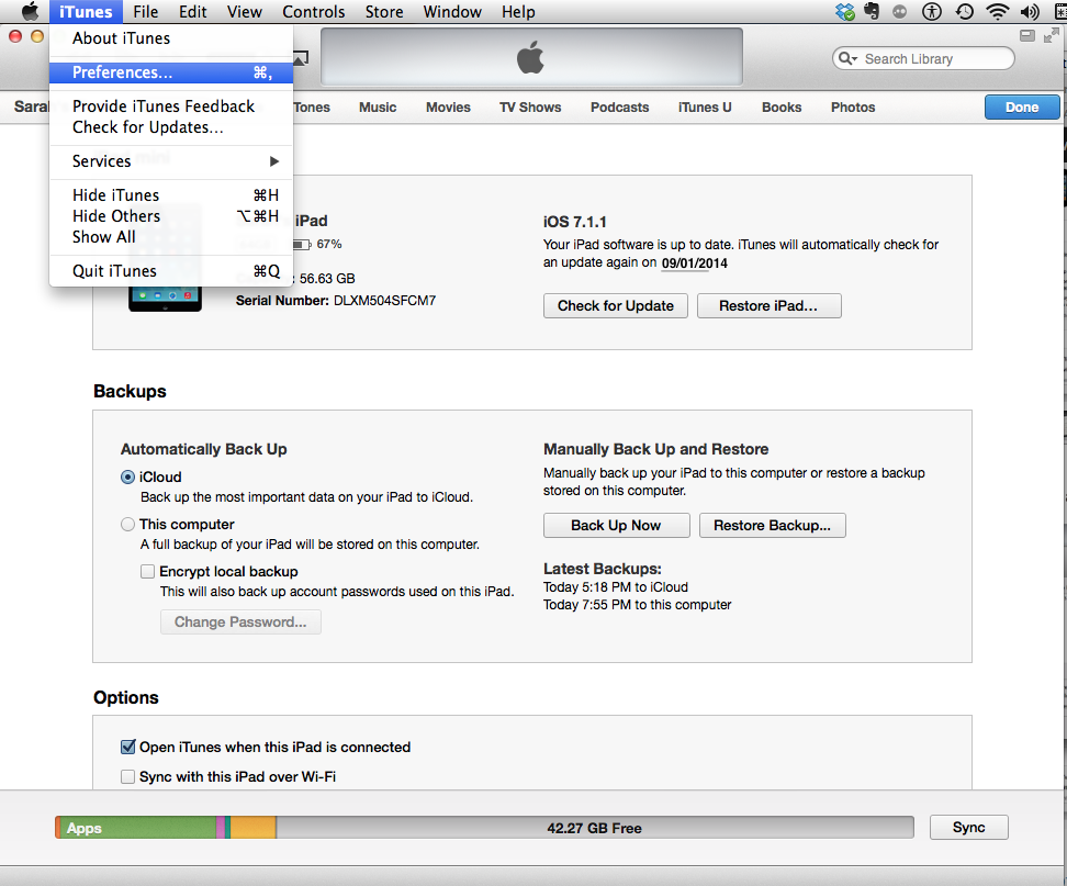 Backing up ipad to itunes on pc